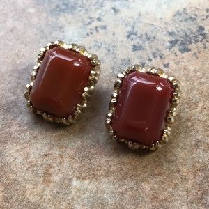 Vintage Clip On Earrings Brown Gold Tone